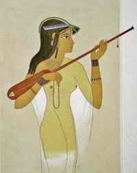 A woman playing a lute-like instrument, from Queen Hatshepsut's Temple.