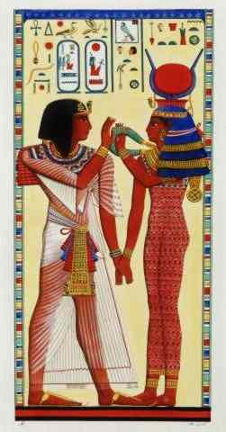 Pharaoh Seti and Goddess Isis hold hands.