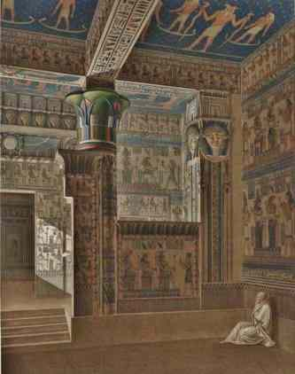 A beautiful room with Hathor head columns