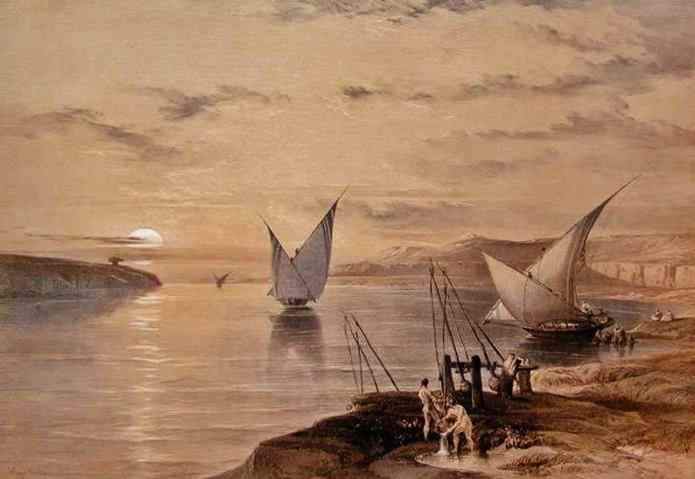 sail boats and water drawing on the Nile.