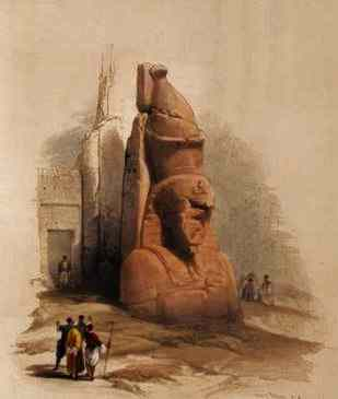 Statue at the entrance to Luxor Temple, by David Roberts.