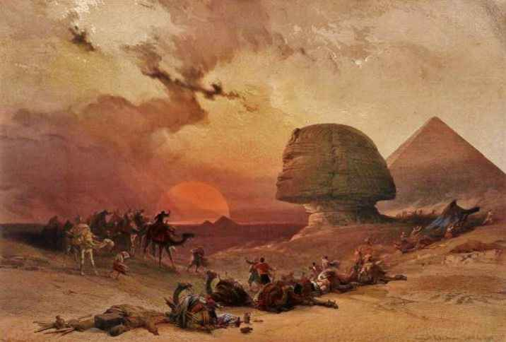 A camel caravan takes cover from an approaching sandstorm behind the Sphinx