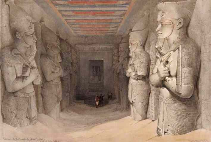 The standing statues inside the Rameses temple of Abu Simbel.
