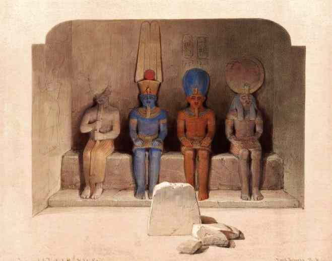 The sanctuary of the great temple of Rameses II at Abu Simbel has four sitting gods, Ramesses among them.
