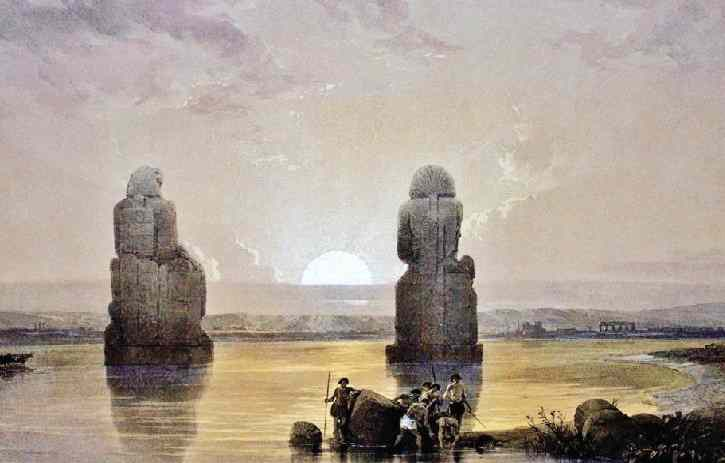 Roberts imagined the statues during the Nile flood, with tiny men launching their boat.