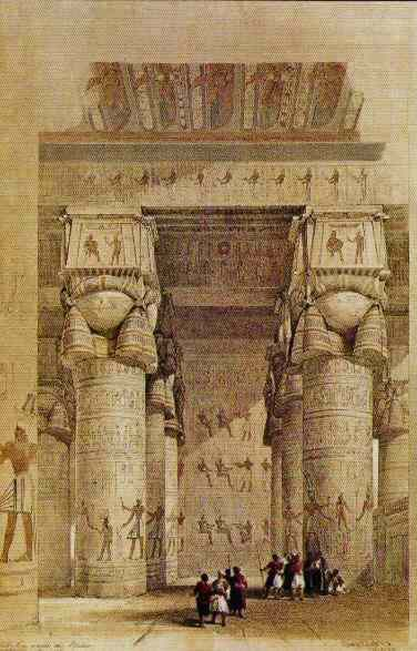Beautiful columns with Hathor faces - you barely notice the tiny forms of people below.