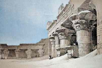 The courtyard of Edfu temple was filled with sand nearly to the tops of the columns in 1838.