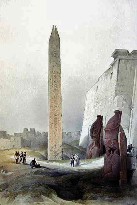the towering obelisk and Rameses statues at the entrance of the Temple of Luxor.
