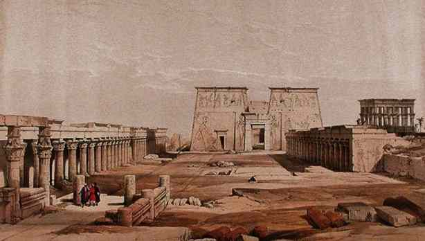 a wide courtyard surrounded by columns, leads to a huge wall of stone - the first pylon of Philae Temple.