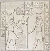 Amenhotep III visits the god Amon-re at the Temple of Soleb.