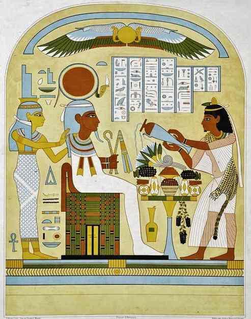 Liquid offerings poured before Pharaoh.