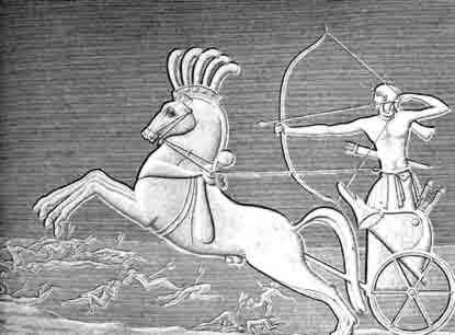 Seti drives his chariot over his foes.